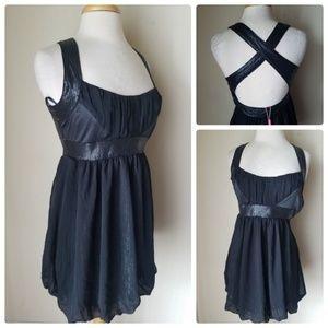 women's black sequin metallic mini halter dress